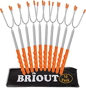 Marshmallow Roasting Sticks 10 Pack Extra Long 45'' Stainless Telescoping Hot Dog Smores Skewers Kids Safe Barbecue Forks for Campfire, Bonfire and Grill