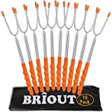 BRIOUT Marshmallow Roasting Sticks 10 Pack Extra Long 45'' Stainless Telescoping Hot Dog Smores Skewers Kids Safe Barbecue Fo