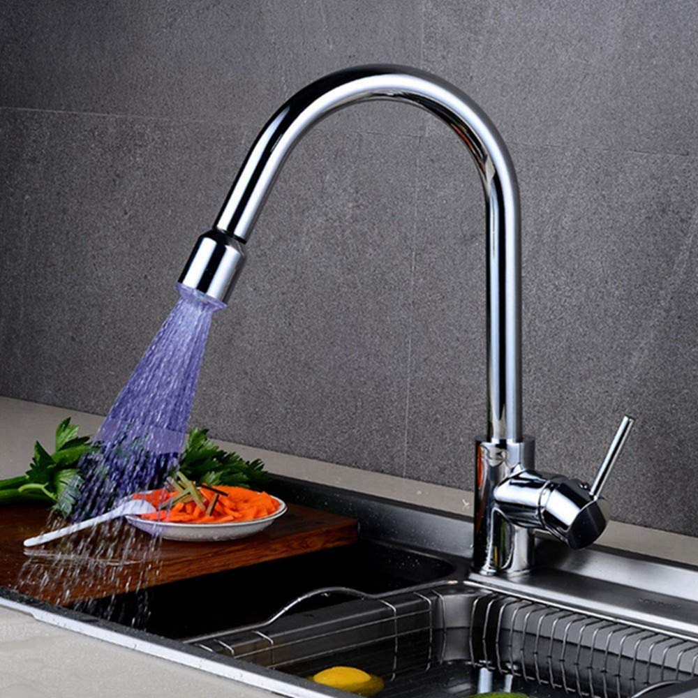 FZHLR Led Kitchen Faucets Chrome Finish Pull Out Kitchen Tap Single Hole Handle Swivel 360 Degree Water Mixer Tap Silver Single Handle