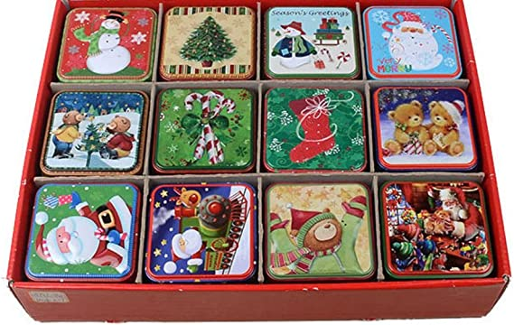 Christmas Holiday Lunch Box Cookie Candy Tins 4-Piece