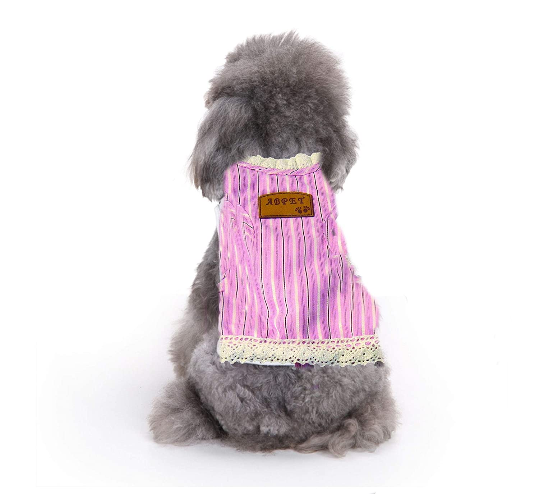 Pink Creative Motion Stripe Dog Cloth with a Leash