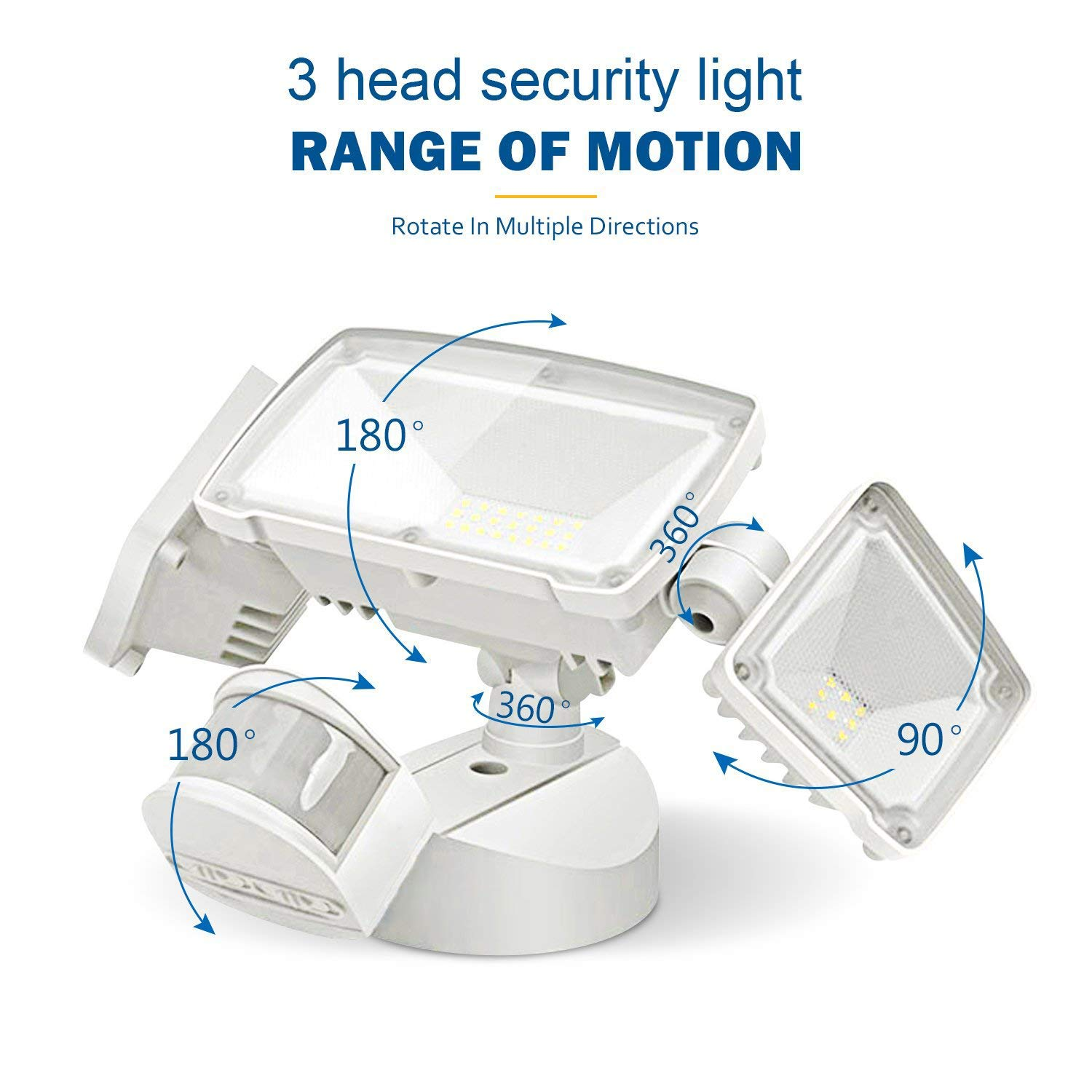 TOPNEW LED Security Light 42W Outdoor Motion Sensor Security Light 3 Heads Flood Light Waterproof 3000LM 6000K Adjustable Lighting Range 180° for Yard Stairs Garage Entryways by TOPNEW (Image #1)