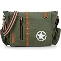 The House Of Tara Vintage Canvas Crossbody Travel Office Business Messenger Bag (Moss Green) HTMB 067