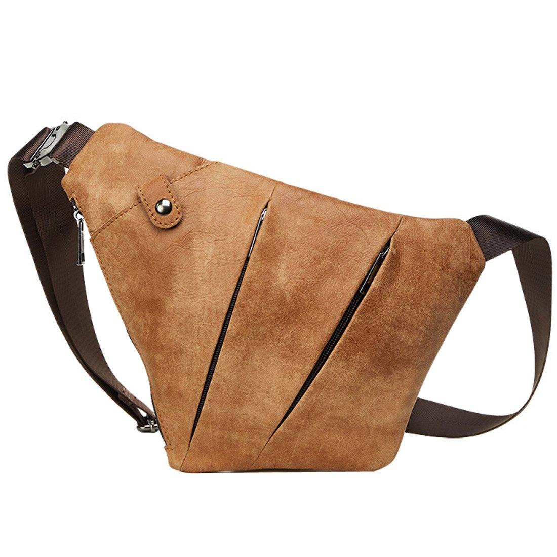 Mayshe Mens Leather Crossbody Chest Shoulder Bag Sling Backpack Messenger Daypack for Outdoor Sport Travel Hiking