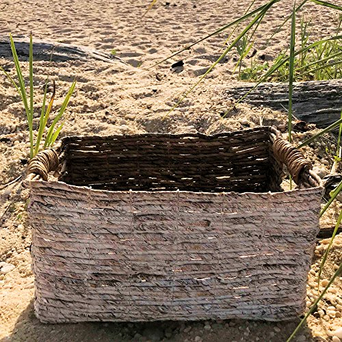 The Beach Chic White Washed Banana Leaf Baskets, Chunky Weave, Rustic Natural Accents, Cut Out Handles, 14 1/4 Inches Long, By Whole House Worlds