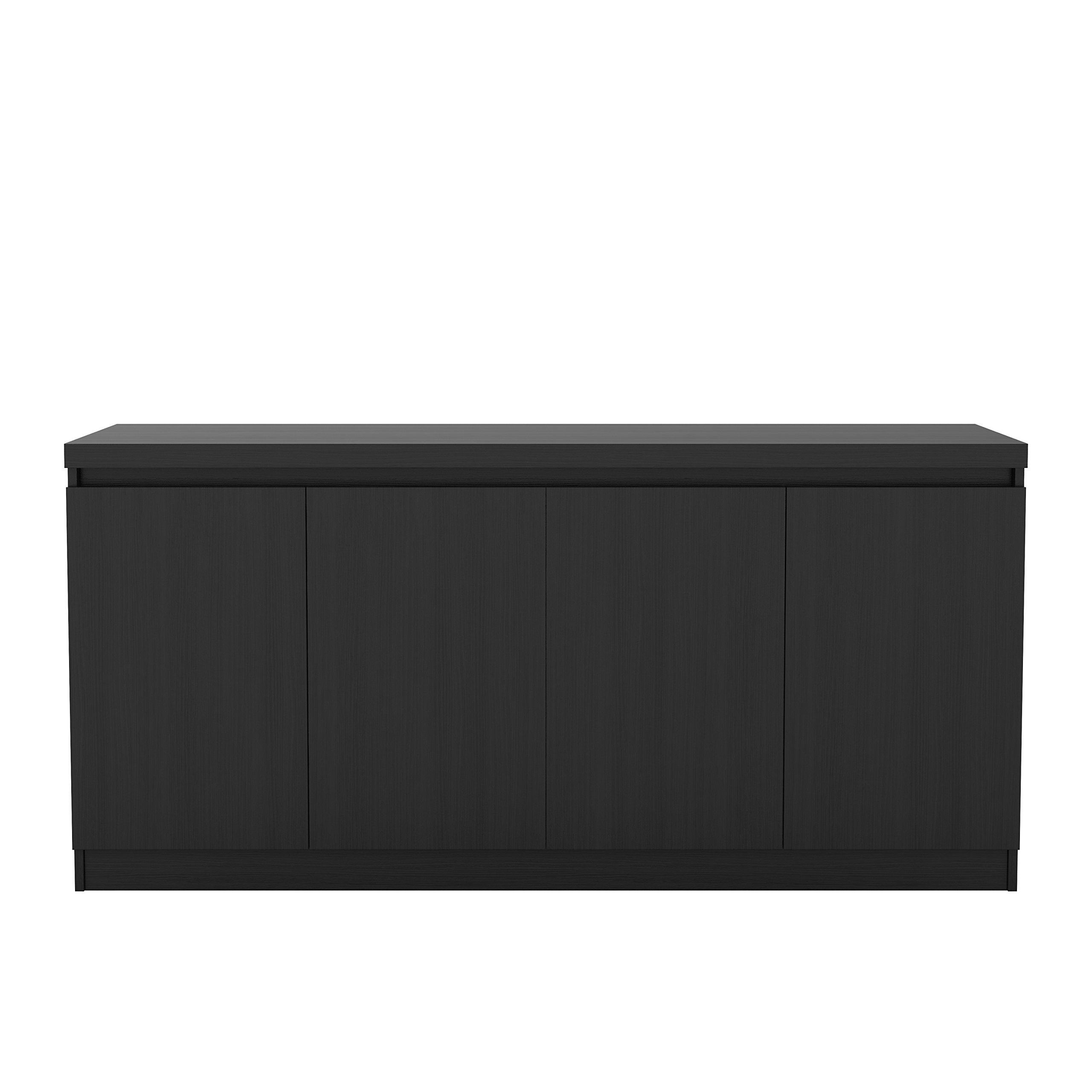 Manhattan Comfort Viennese Collection 6 Shelf Gloss Finished Long Buffet Cabinet / Dining Console with 4 Doors, Black Gloss