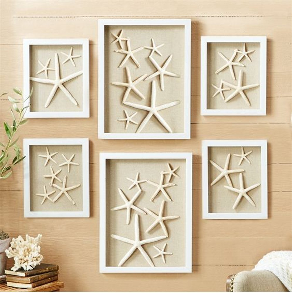 6 Shadow Boxes of Starfish in 2 sizes (assorted designs)