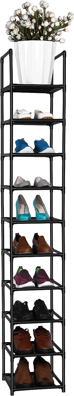 fiducial home 10 Tiers Shoe Rack Space Saving Vertical Single Pairs Sturdy Shoe Shelf Storage Organizer
