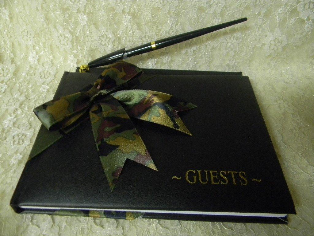 Wedding Camo Redneck Deer Hunter Hunting Black guest book Pen Set