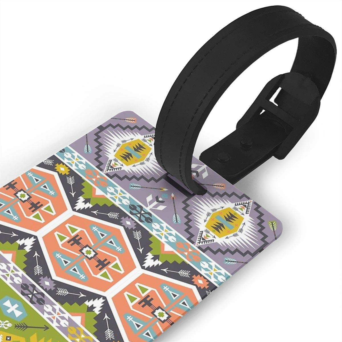 Seamless Aztec Pattern With Geometric Elements Luggage Tags Suitcase Labels Bag Travel Accessories Set of 2
