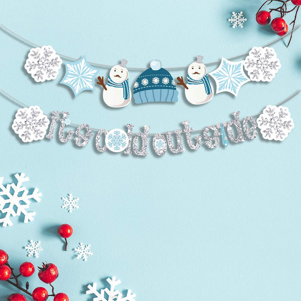 Miseagan ITS COLD OUTSIDE Snowflake Banner Merry Christmas Garland Holiday Glitter Decor Baby Shower New Year Kids Birthday Party Decorations Favors