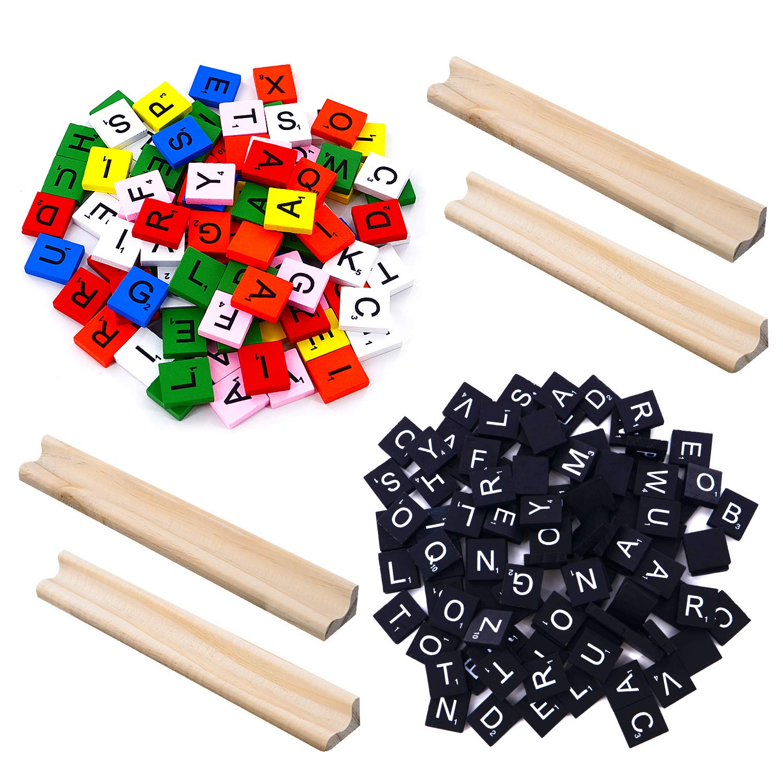 200 Scrabble Tiles, 2 Complete Sets& 4 Letter Racks Wood Letter Scrabble Tile - Great for Crafts, Pendants, Spelling