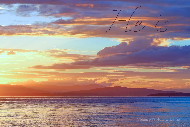 Inspirational Wall Art Colorful Sunset over Puget Sound Photographic Print Unframed Christian Home Decor Purple Blue Indigo Yellow Orange Nature Photo 5x7 8x10 8x12 11x14 12x18 16x20 16x24 20x30