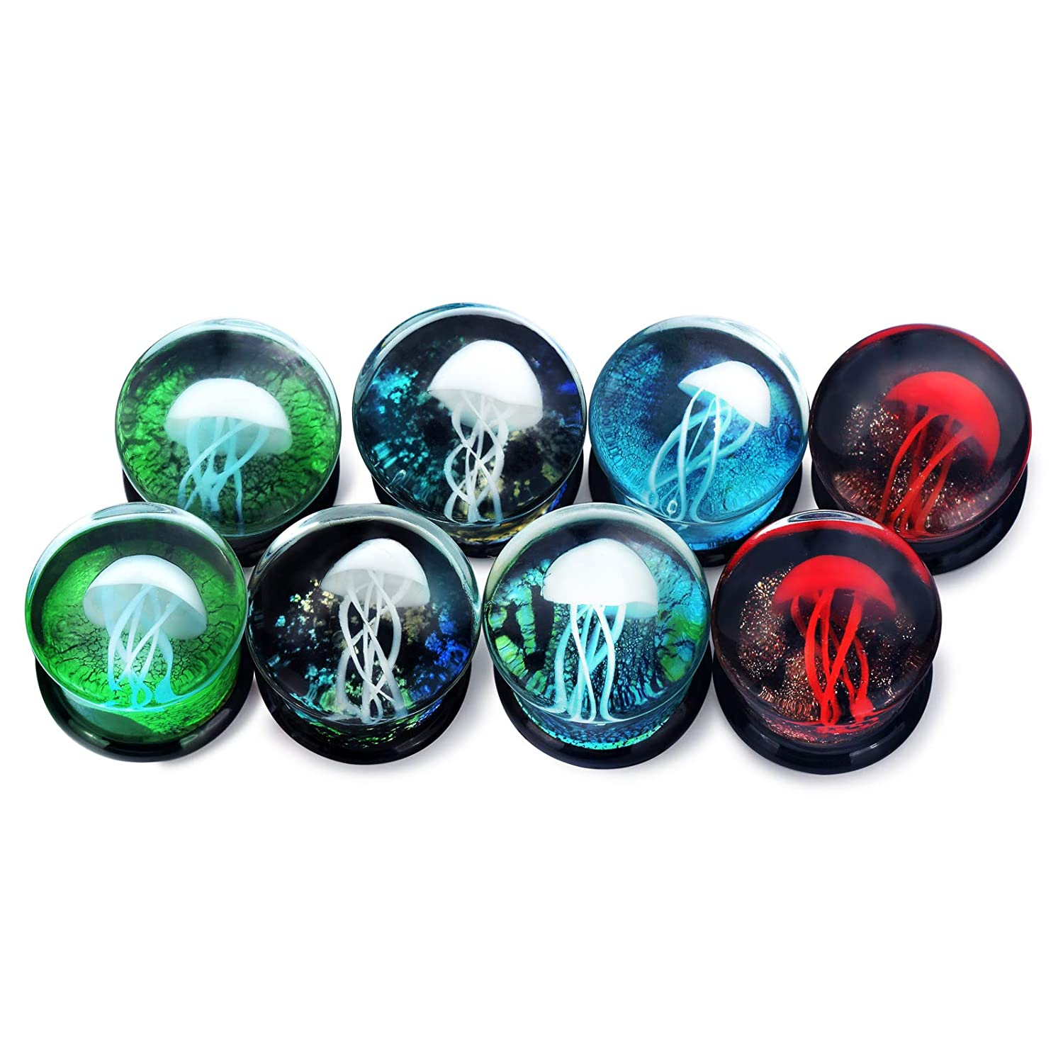 Lianrun 1Pair Glass Ocean Jellyfish Ear Plugs Gauges Expander Tunnels 6 Style to Choose Size 0g-5//8 Lianrunshangmao Co.Ltd SWK50289