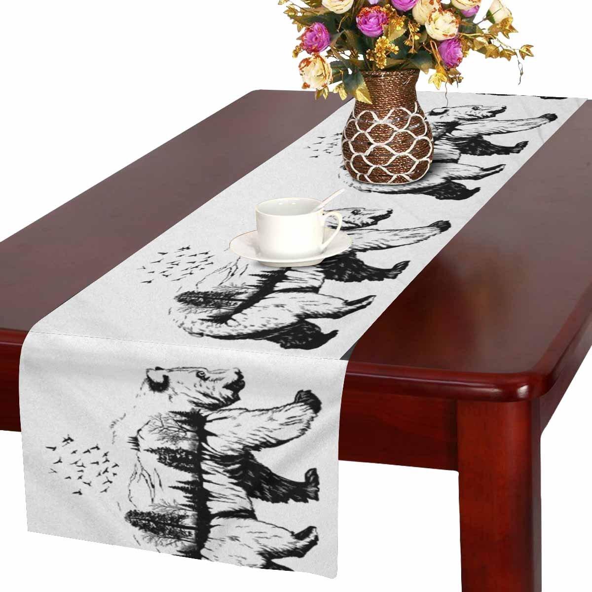 interestprint可愛い動物ペンギンwith Polka Dotsテーブルランナーコットンリネン布プレースマットfor Officeキッチンダイニングウェディングパーティー宴会16 x 72インチ Table Runner 16