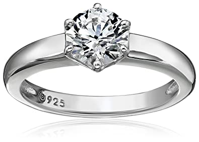 8c801f19d Amazon.com: Platinum or Gold Plated Sterling Silver Round cut Solitaire ring  made with Swarovski Zirconia: Jewelry