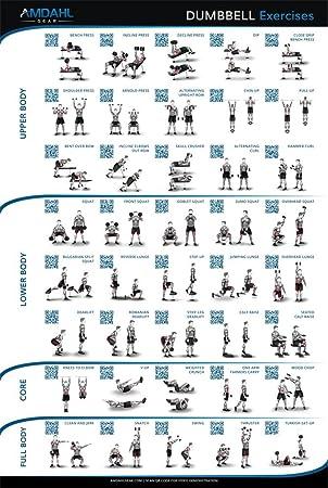 """Mancuernas Póster de ejercicios 20 """"x30""""; 40 ejercicios con ilustraciones y códigos"""