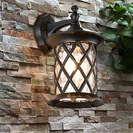 ZHAS Luz de pared exterior impermeable Retro creativo escalera exterior patio Corredor Lámpara de pared exterior de aluminio negro E27 Luces de linterna de pared exterior (Tamaño : 22*32cm): Amazon.es: Hogar