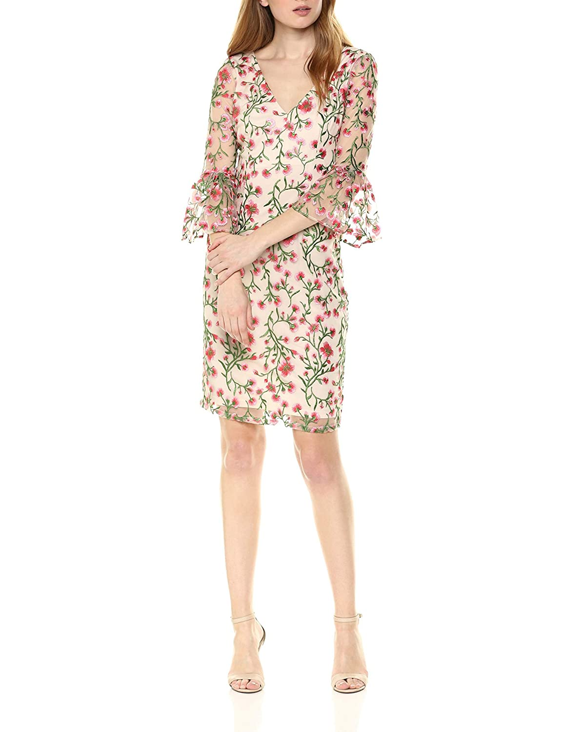 d4ab94205196 Adrianna Papell Women's Floral Vines Bell Sleeve Dress at Amazon Women's  Clothing store: