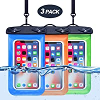3-Pack Universal Waterproof Cell Phone Pouch (Blue/Orange/Green)
