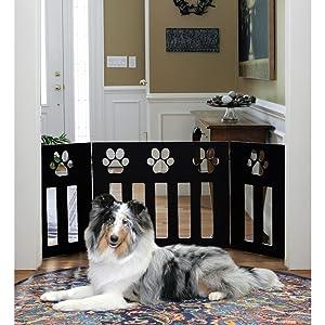 Pet Store Wooden Paw Decor Pet Gate (Black)