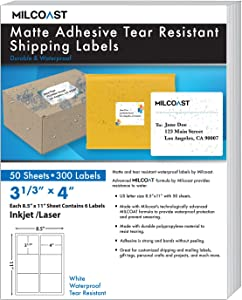 "Milcoast Matte Adhesive Tear Resistant Waterproof Shipping Labels - for Inkjet/Laser Printers, Size 3-1/3"" x 4"" Each - for Shipping, FBA, Stickers, Labels, Arts, Crafts (50 Sheets)"