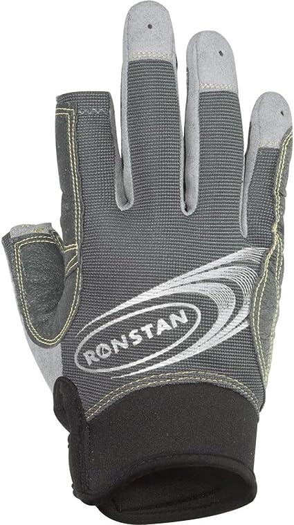 Medium Ronstan Sticky Race Gloves w//3 FUll /& 2 Cut Fingers Grey