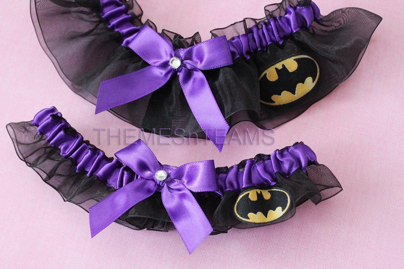 Customizable handmade - Black & Purple - Batman fabric handcrafted keepsake bridal garters wedding garter set