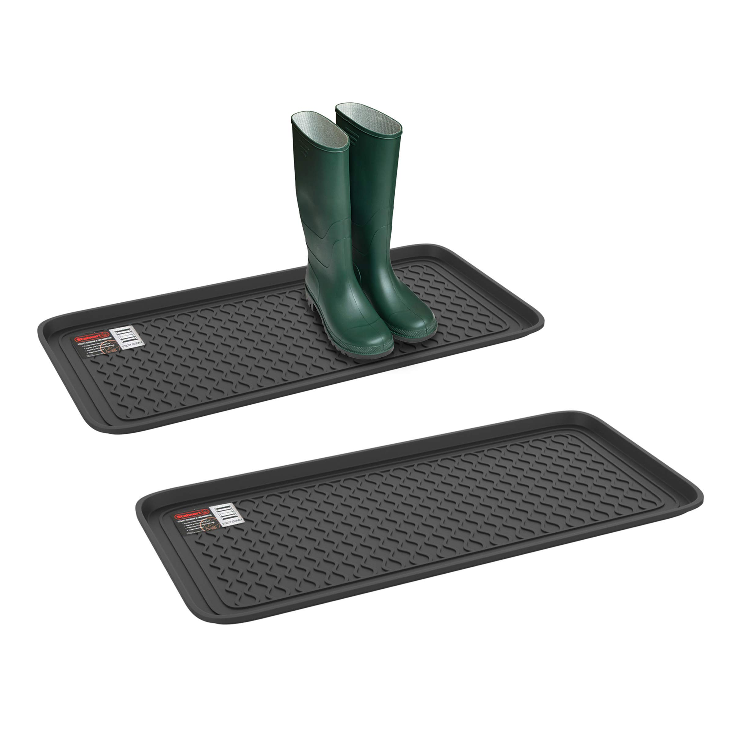Stalwart 75-ST6102 Weather Boot Tray-Large Water Resistant Plastic Utility Shoe Mat for Indoor and Outdoor Use in All Seasons (Set of Two, Black)