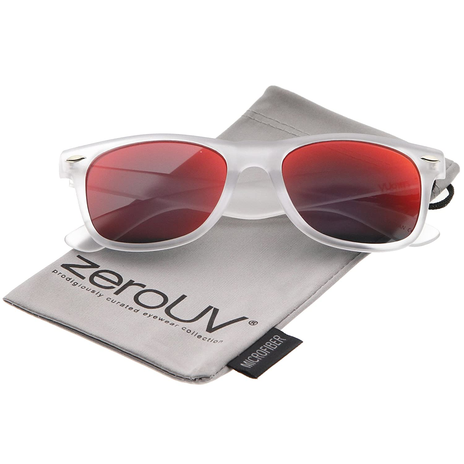61bccad08e1 Amazon.com  Matte Frosted Frame Reflective Colored Mirror Lens Horn Rimmed  Sunglasses 54mm (Frost Red Mirror)  Clothing