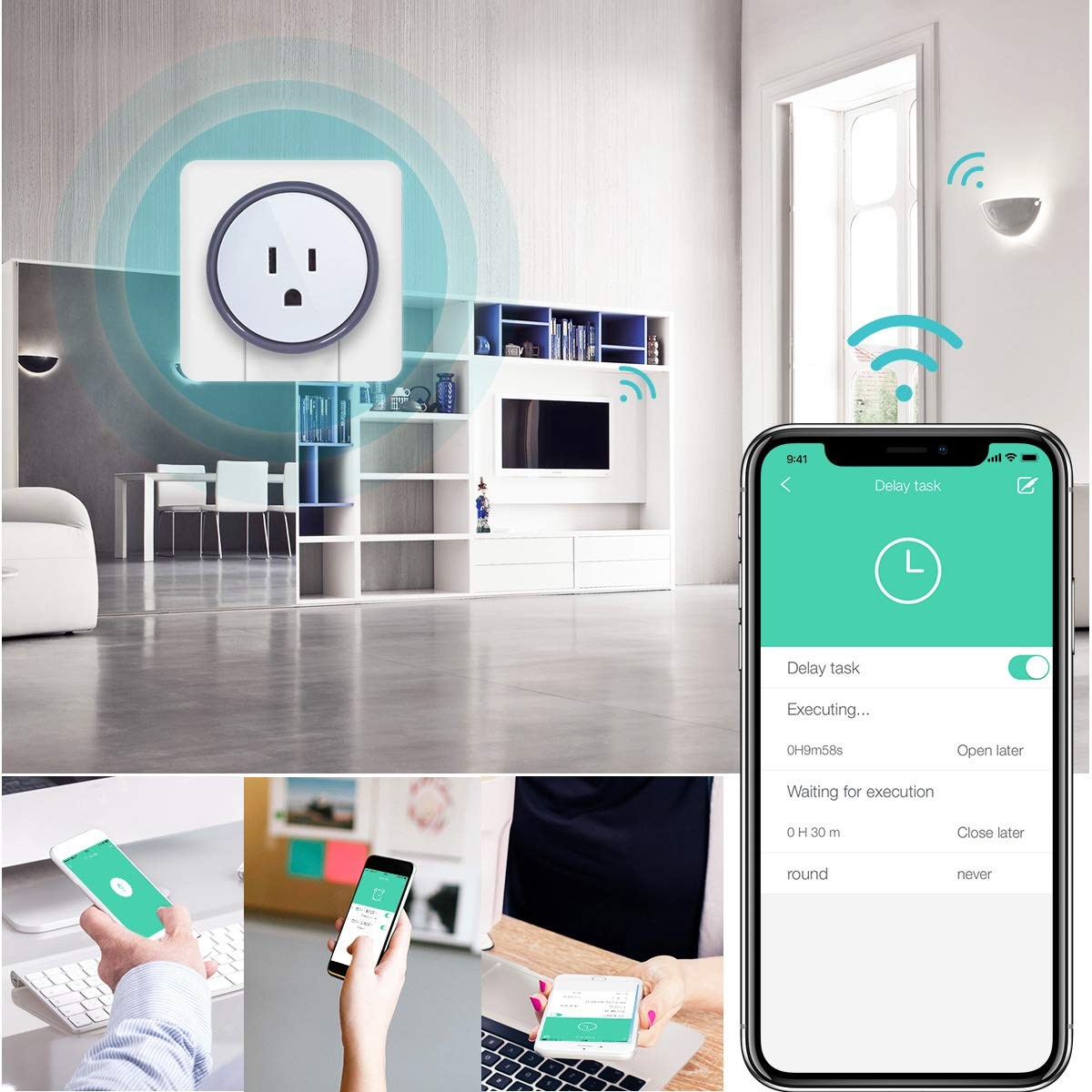 Google Home,No Hub Required,App Remote Control 4Pack Alexa Smart Plug,WiFi Konke Mini Wifi Outlet Plug