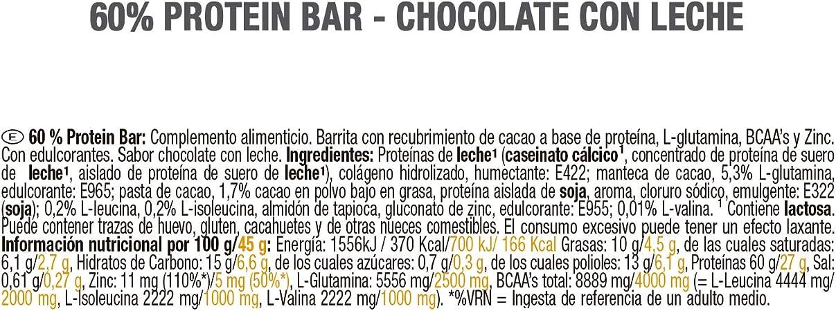 Weider 60% Protein Bar Chocolate con leche 24 x 45 gr. La barrita con más proteína del mercado. Con 4 g de BCAAs por barrita.
