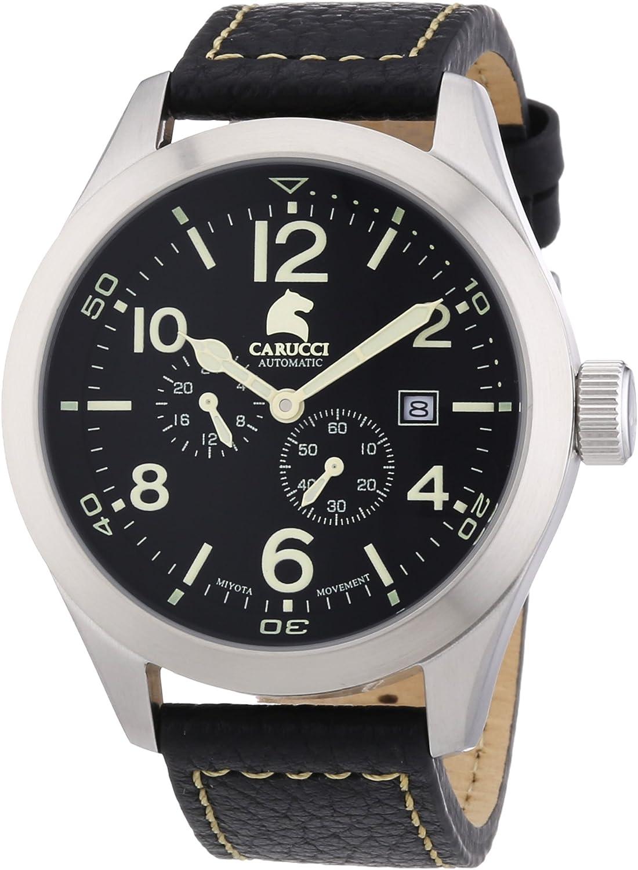 Carucci Watches San Severo CA2202BK - Reloj analógico automático para Hombre, Correa de Cuero Color Negro (Agujas luminiscentes)