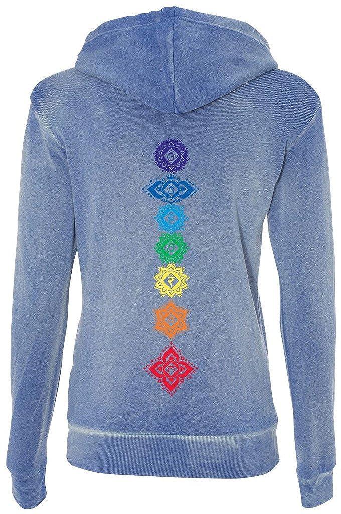 2XL Hyper Blue mid-Back Print Ladies Floral Chakras Angel Fleece Full-Zip Hoodie