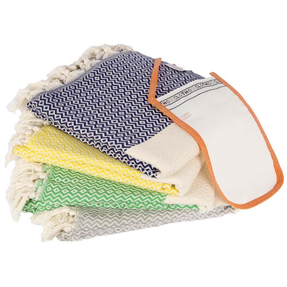 Turkish Bath and Beach Towel Set of 4 Variety Colors 100% Cotton Oversized Peshtemal Pool Spa Towels