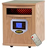 SUNHEAT International SH-1500LCD Electric Portable Infrared Heater with Remote Control and LCD Display, 1500-watt, Golden Oak