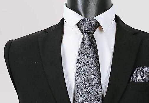 Alizeal - Corbata con bolsillo cuadrado, diseño de cachemira Gris ...