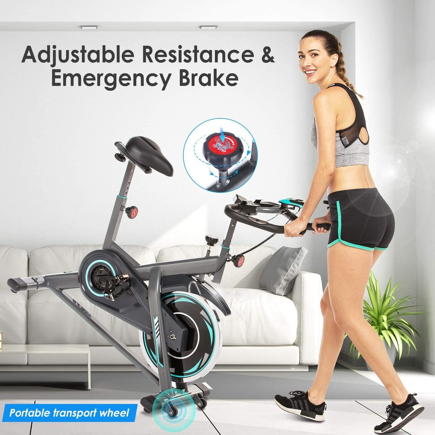 Indoor Cycling Bike Stationary with Heart Rate Monitor /& LCD Monitor Grips Handlebar JXM-01 Cardio Bike with Multi,Comfortable Seat Cushion, Exercise Bike
