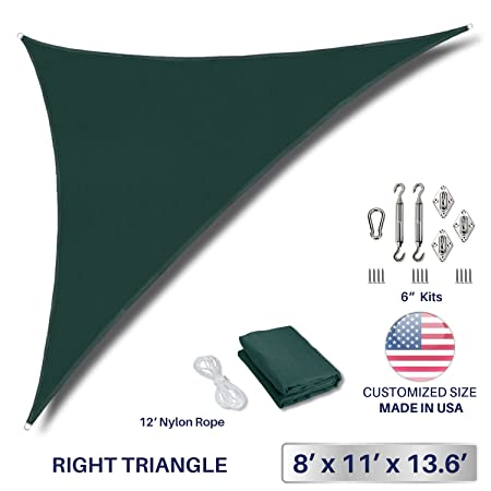 Windscreen4less 8 x 11 x 14 Right Triangle Sun Shade Sail with 6 inch Hardware Kit – Green Durable UV Shelter Canopy for Patio Outdoor Backyard – Custom Size