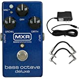MXR M288 Bass Octave Deluxe Pedal with 9V Power Supply and a Pair of Patch Cables