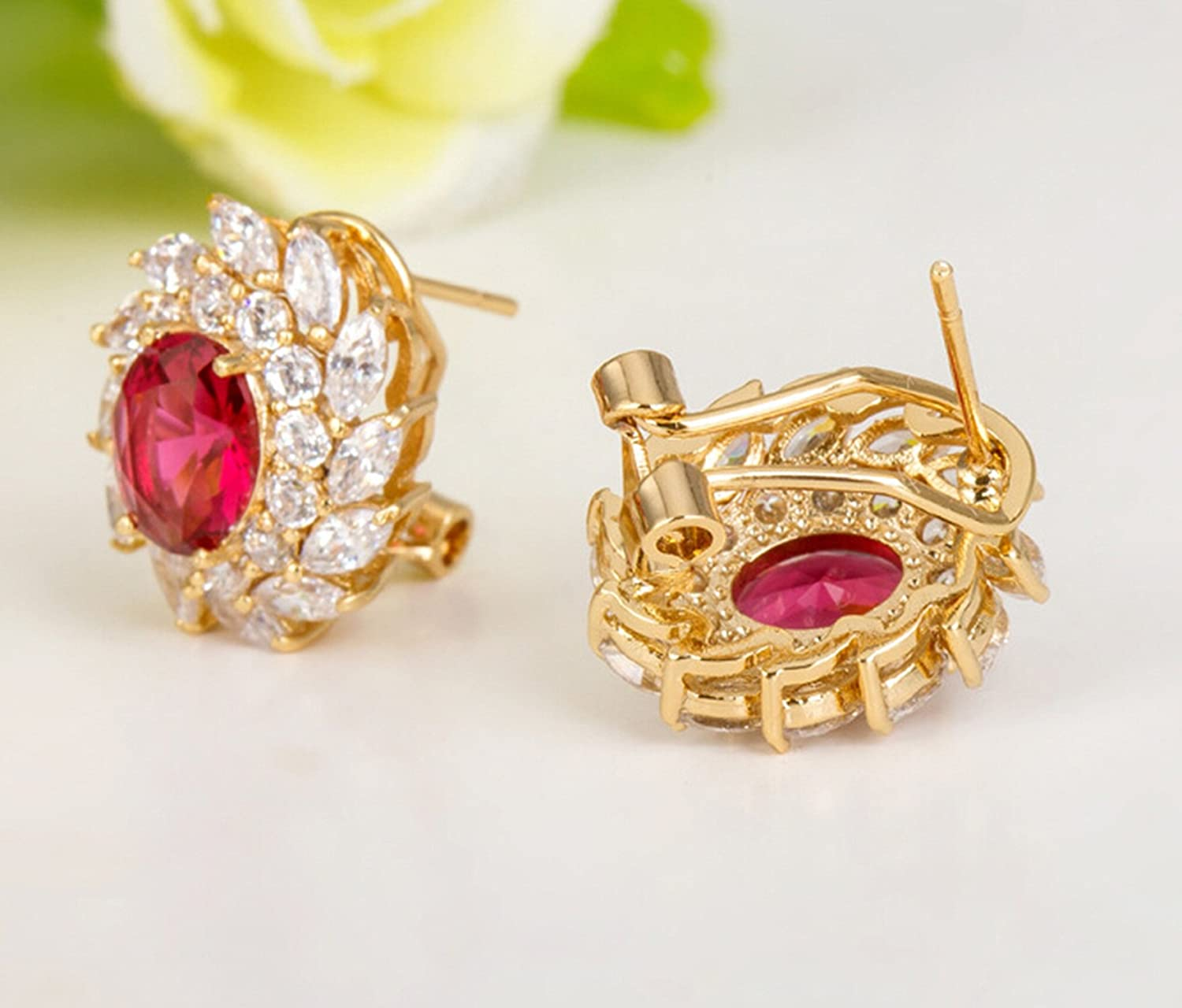 Epinki Gold Plated Womens Stud Earring Red Cubic Zirconia Clip Earrings Oval Channel Champagne