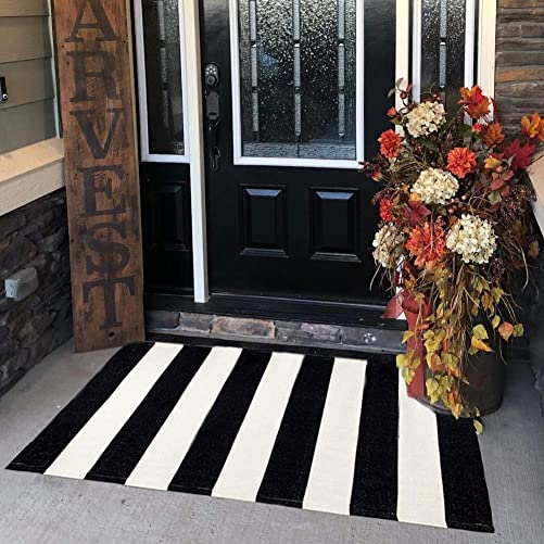 KaHouen Cotton Black and White Striped Rug 27.5 x 43 Inches , Washable Hand-Woven Stripe Outdoor Front Door Mat for Layered Door Mats Porch Kitchen Bathroom Laundry Room.