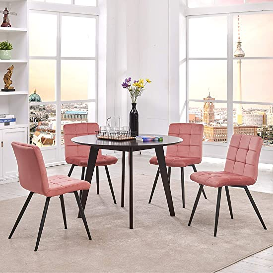 Duhome Elegant Lifestyle Set of 4 Dining Chairs,Velvet Accent Chair Upholstered Living Room Modern Leisure Chairs Style Metal Legs Pink