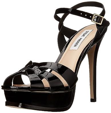 Steve Madden Women's Kananda Black Patent Leather Fashion Sandals - 5  UK/India (37.5