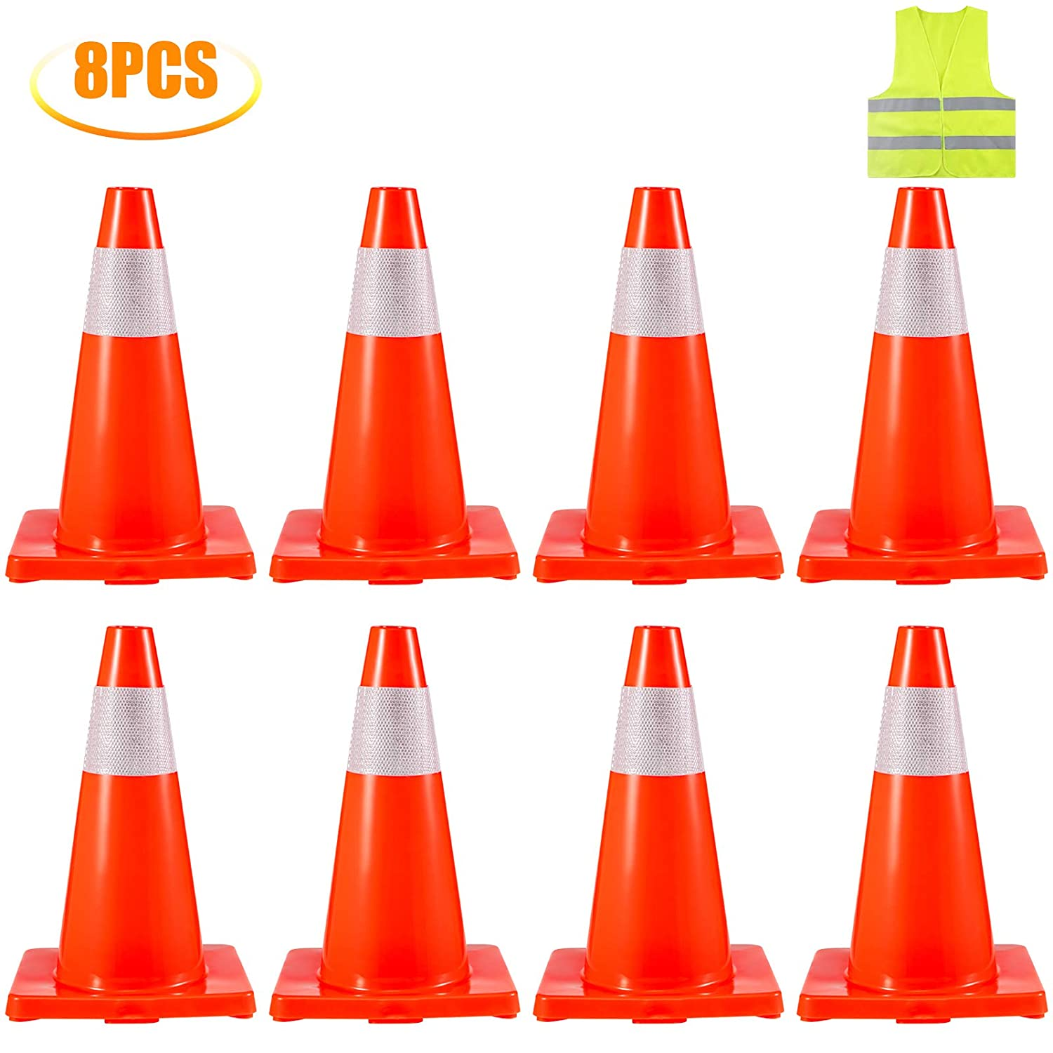 Suplander 20PCS Traffic Cones 18 Safety Cones PVC Orange Traffic Safety Cone with Reflective Collar and Vest for Parking Training