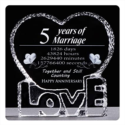 Ywhl 5 Year Crystal 5th Wedding Anniversary Paperweight Keepsake Gifts For Her Wife Girlfriend Him Husband