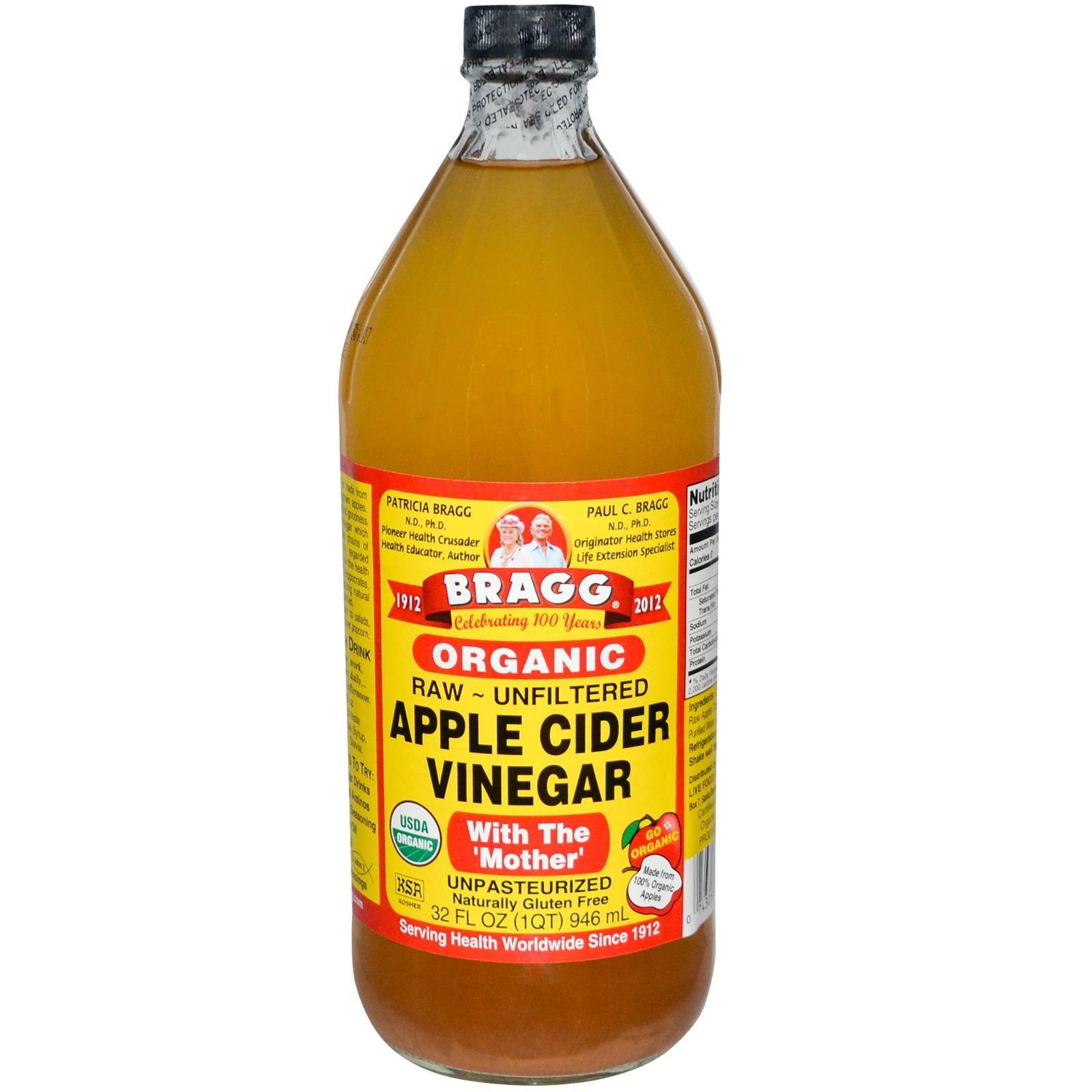 Bragg Organic Raw Apple Cider Vinegar, 32 Ounce - 12 Pack by Bragg