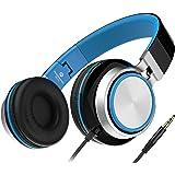 Sound Intone MS200 Casque Stéréo - Nouvelle Génération, Casque Audio supra-auriculaires, anti-bruit, léger et pliable - Compatible avec PC, téléphones portables intelligents (iPhone/Samsung/HTC), PSP, tablettes (Ipad), Ipod, mp3 et mp4 (Noir / Bleu)