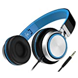 Foldable Headphones, Sound Intone MS200 Stereo On-ear Headset, Tangle free Cable, Light Weight for Smartphones/ Mp3/4 Players/ Laptops/ Computers/ Tablet/ iPhone/ Samsung/ iPod(Black/Blue)