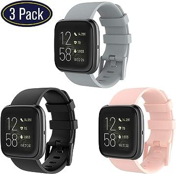 Correa para Fitbit Versa 2,KingAcc Silicona Suave Pulsera de Respueto con Hebilla de Metal Compatible con Fitbit Versa/Versa 2/Versa Lite smartwatch: Amazon.es: Electrónica